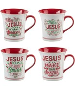 4 ASSORTED 16 OZ JESUS SENTIMENT MUGS W/RED HANDLE BY HOME ESSENTIALS - $53.41