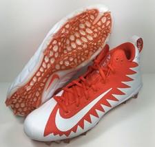 Nike Alpha Menace Pro Mid Football Cleats Mens SZ 10 White Orange 871451-811 NEW - $45.99