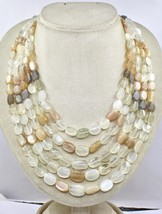 NATURAL MULTI MOONSTONE BEADS CABOCHON 5 LINE 950 CTS GEMSTONE LADIES NECKLACE image 1