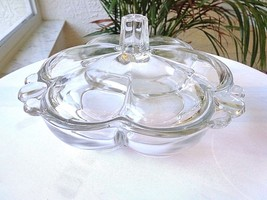 Duncan & Miller 3 Section Candy Box Tear Drop Clear c 1936 - $14.85