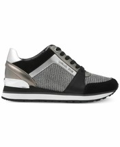 Michael Kors MK Women's Billie Trainer Sneakers Shoes Black/Silver NEW w/DEFECT