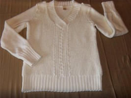 W7532 Womens DKNY JEANS Ivory Comfy Knit Vee Neck SWEATER Cotton LARGE - $14.50