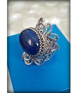 HSN Ottoman Collection genuine blue Lapis filigree flower ring in sterli... - $74.25