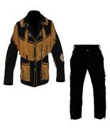 New Men's Native American Buckskin Black Suede Leather Jacket & Pant WS341 - $177.31