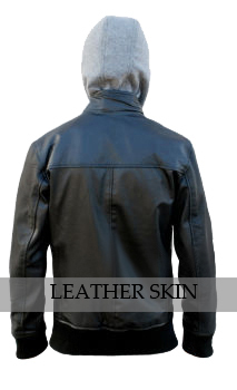 NWT Black Fashion Stylish Sexy Premium Genuine Leather Jacket w/ Cotton Hoodie image 2