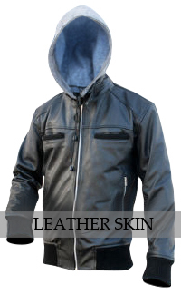 NWT Black Fashion Stylish Sexy Premium Genuine Leather Jacket w/ Cotton Hoodie image 1