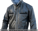 Leather men black stylish jacket with hooded front l thumb155 crop