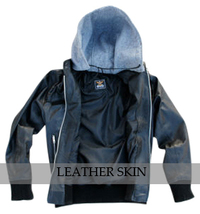 NWT Black Fashion Stylish Sexy Premium Genuine Leather Jacket w/ Cotton Hoodie image 3