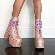Sugar Thrillz Tempo Tantrum Platform Pink Glitter Boots US Size 7 - $149.99