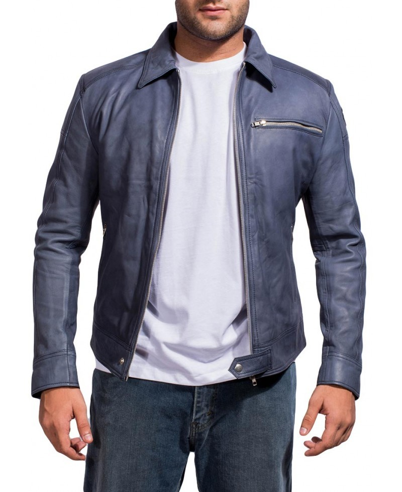 Need For Speed Aaron  Paul Biker Knockoff  Men Leather Jacket