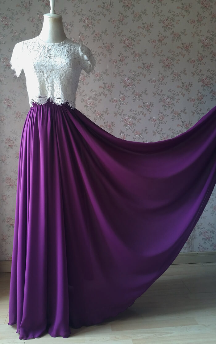 PLUM PURPLE Chiffon Maxi Skirt Purple Wedding Chiffon Skirt (US0-US30)