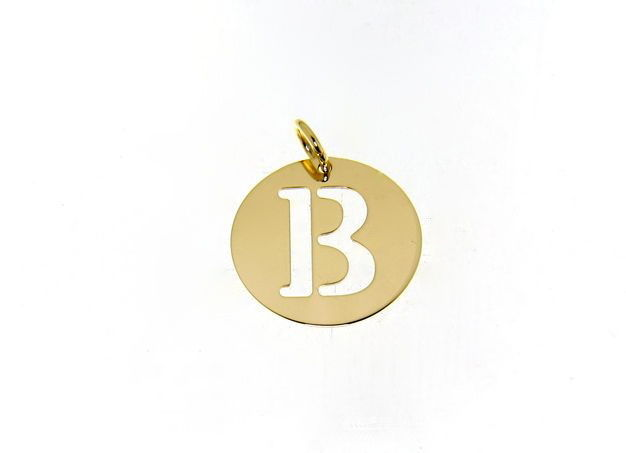 18K YELLOW GOLD LUSTER ROUND MEDAL WITH A LETTER B MADE IN ITALY DIAMETER 0.5 IN