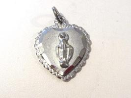 Vintage sterling silver Religious Heart pendant - $7.00