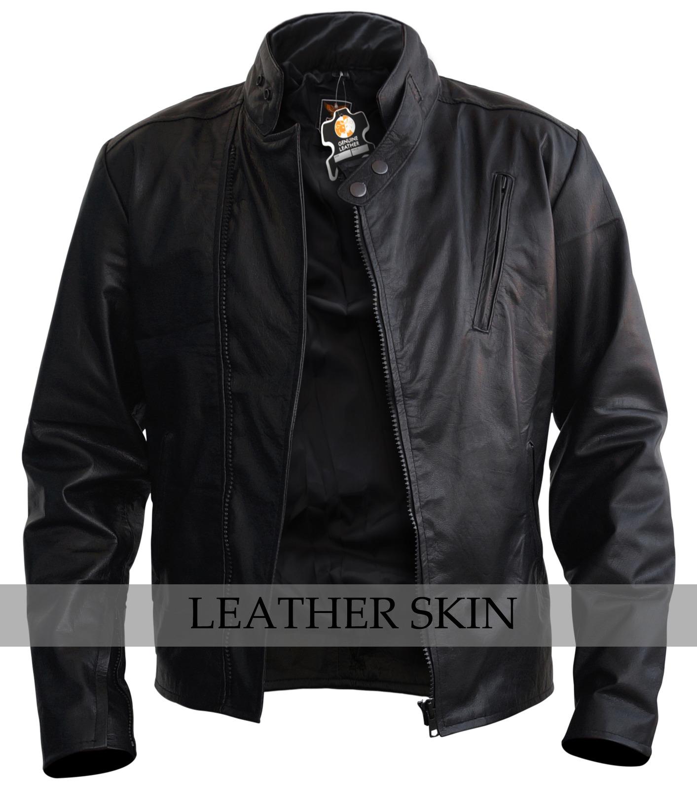 NWT Black Iron Man Fashion Stylish Sexy Premium Genuine Leather Jacket -All Size