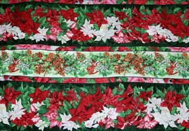 "WINTER FLOWERS Festive Poinsettias Pinecones Ribbons Cotton Fabric 44"" B... - $11.99"