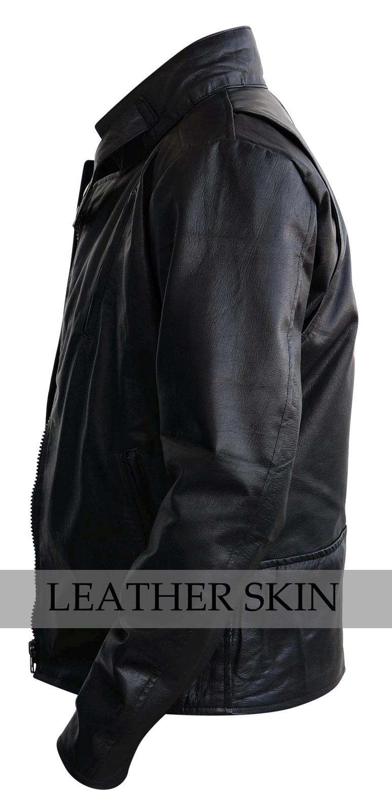 NWT Black Iron Man Fashion Stylish Sexy Premium Genuine Leather Jacket -All Size image 4