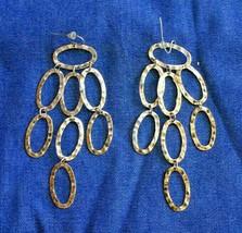 Fabulous Long Gold-tone Hoop Waterfall Pierced Earrings 1980s vintage 3 ... - $12.30