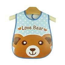 Cute Cartoon Bear Pattern Baby Waterproof Bib (Blue/Brown)