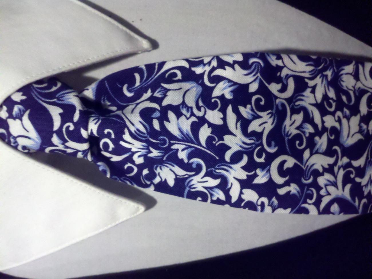 Damask Scroll Leaf Necktie Set Men Navy White Wedding Hanky  image 2