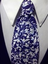Damask Scroll Leaf Necktie Set Men Navy White Wedding Hanky  image 1