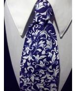 Damask Scroll Leaf Necktie Set Men Navy White Wedding Hanky  - $25.95