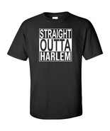 Straight Outta Harlem White Logo T Shirt Mens Funny New York City Merch ... - $13.49