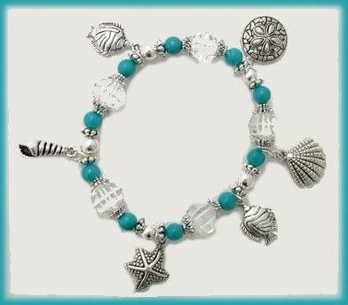 Tropical Ocean Sea Shells Charm Bracelet New