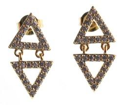 Jardin or Jaune Plaqué Pierre Zircone Mini Double Triangles Boucles Nwt image 2