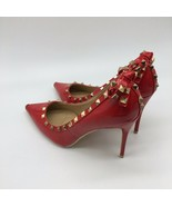 Bella Luna Red Patent Leather Heels, With Gold Accents, Size 10.0 - $19.80