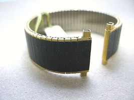 vintage quality expansion stainless steel & leather combo watch band 18m... - $36.00