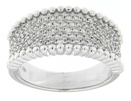 Solid 14K White Gold 0.83CT Real And Natural Diamond Wide Band Style Uni... - $1,064.61