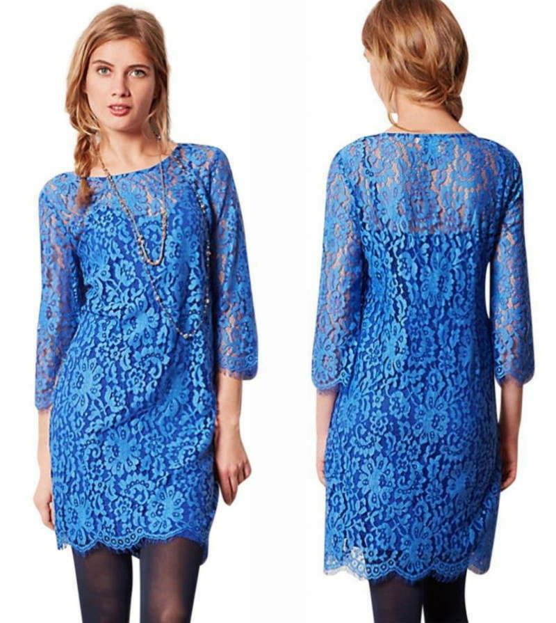 Primary image for Anthropologie Urban Chic Lace Dress Medium 6 8 Blue HD Paris Sophisticated Shift