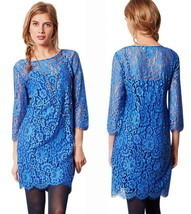 Anthropologie Urban Chic Lace Dress Medium 6 8 Blue HD Paris Sophisticat... - £55.73 GBP