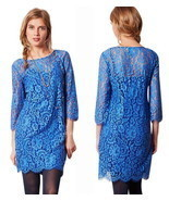 Anthropologie Urban Chic Lace Dress Medium 6 8 Blue HD Paris Sophisticat... - $93.18 CAD