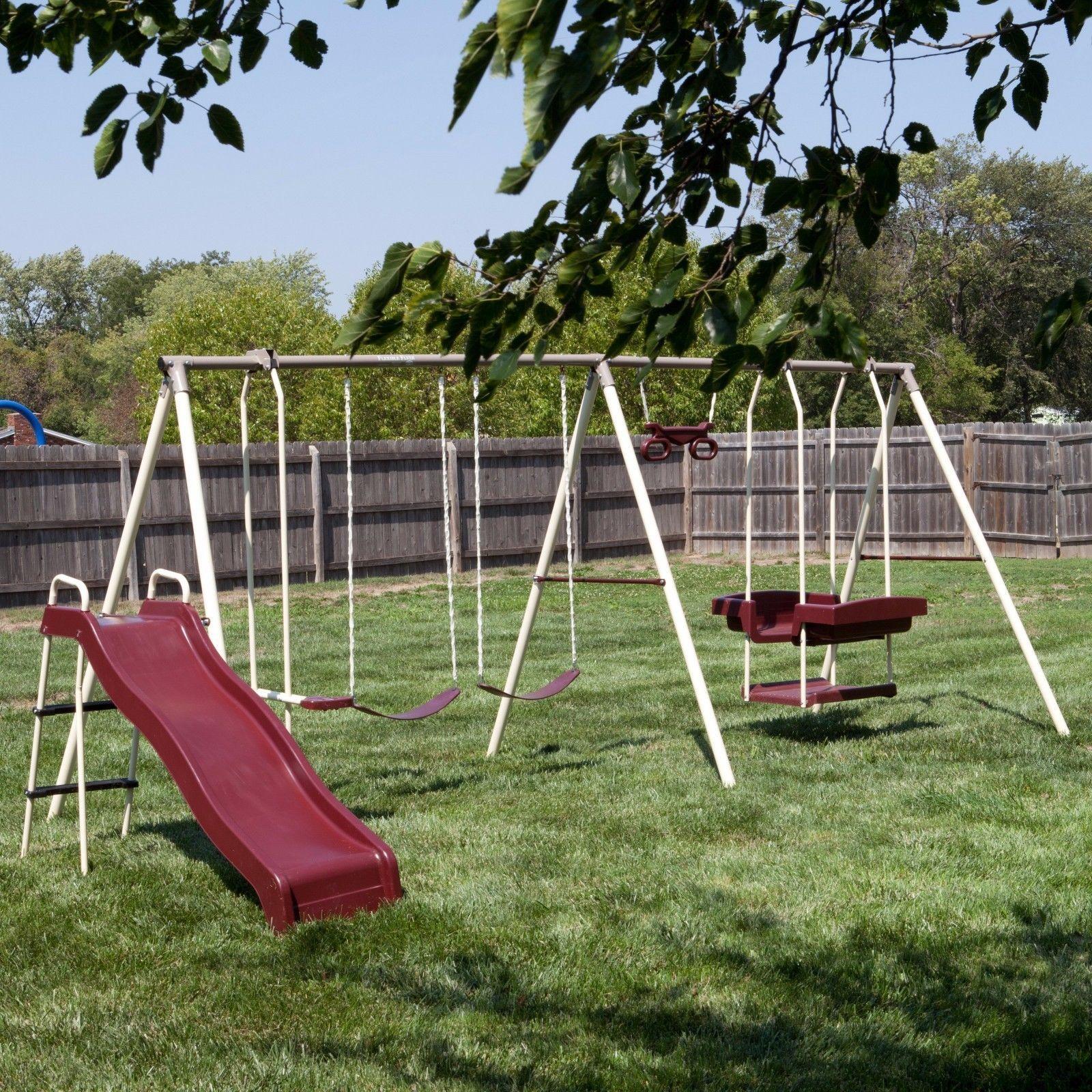 Metal Swing Set Park Outdoor Backyard Play and 50 similar ...