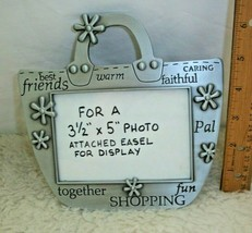 Friends Picture Frame 3 1/2 x 5 Photo Pocketbook Shaped Metal Shopping M... - $14.84