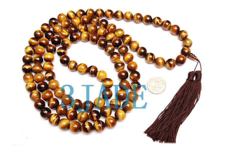 "58"" A Grade Tiger's Eye Gemstone 108 Prayer Beads Mala"