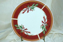 Gibson Holly Burgundy Band Red Ribbons Dinner Plate - $4.84