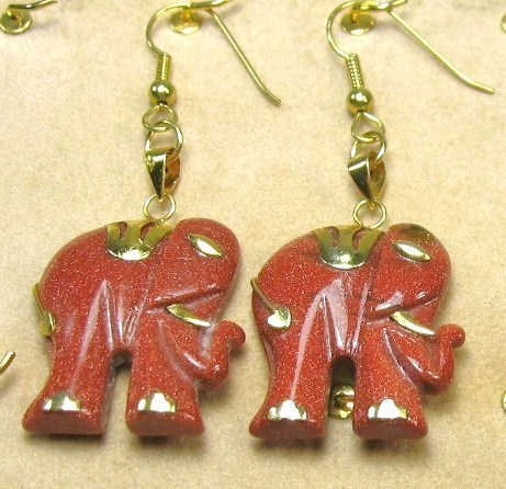 HANDCRAFT GEMSTONE GOLD SAND ELEPHANT COPPER SETTING DANGLE EARRING SET 2""