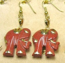 "HANDCRAFT GEMSTONE GOLD SAND ELEPHANT COPPER SETTING DANGLE EARRING SET 2"" image 1"