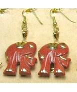 "HANDCRAFT GEMSTONE GOLD SAND ELEPHANT COPPER SETTING DANGLE EARRING SET 2"" - $17.28"