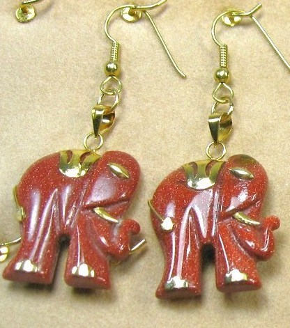 "HANDCRAFT GEMSTONE GOLD SAND ELEPHANT COPPER SETTING DANGLE EARRING SET 2"" image 2"
