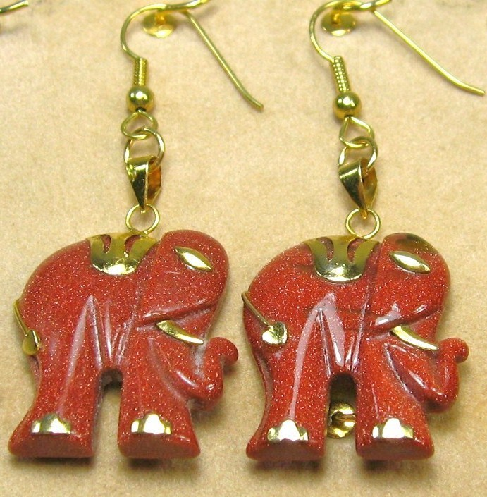 "HANDCRAFT GEMSTONE GOLD SAND ELEPHANT COPPER SETTING DANGLE EARRING SET 2"" image 3"
