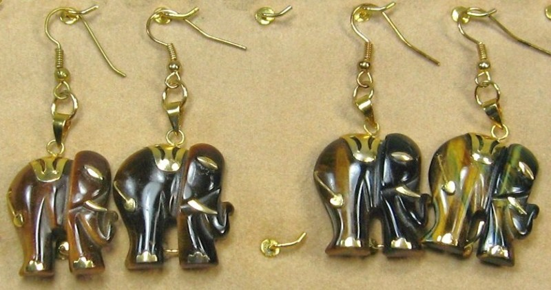 "HANDCRAFT GEMSTONE golden brown TIGEREYE ELEPHANT COPPER DANGLE EARRING 2"""