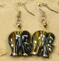 "HANDCRAFT GEMSTONE golden brown TIGEREYE ELEPHANT COPPER DANGLE EARRING 2"" image 2"