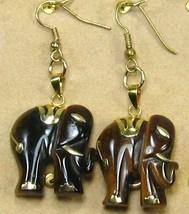 "HANDCRAFT GEMSTONE golden brown TIGEREYE ELEPHANT COPPER DANGLE EARRING 2"" image 3"