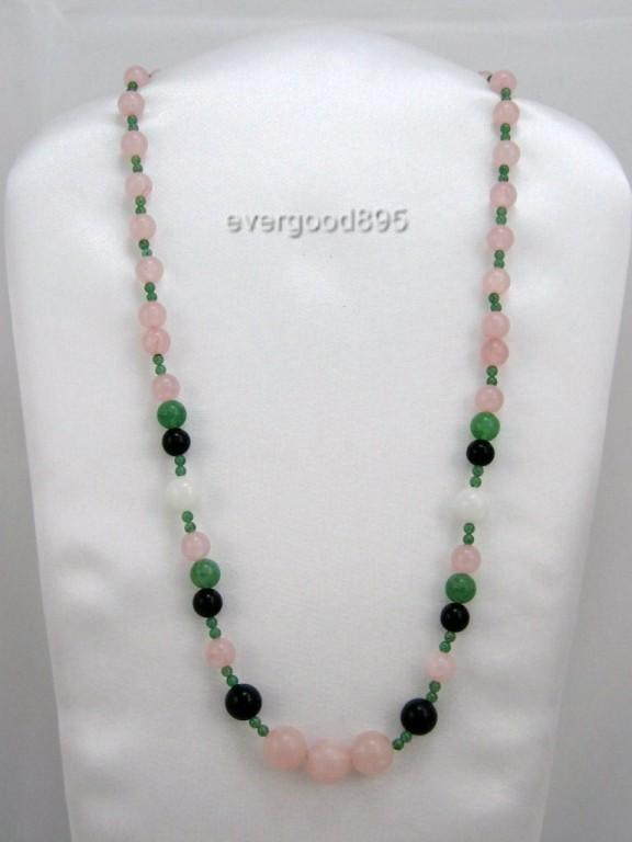 HANDCRAFT MIX GEMSTONE Rose quartz  jade  necklace 20