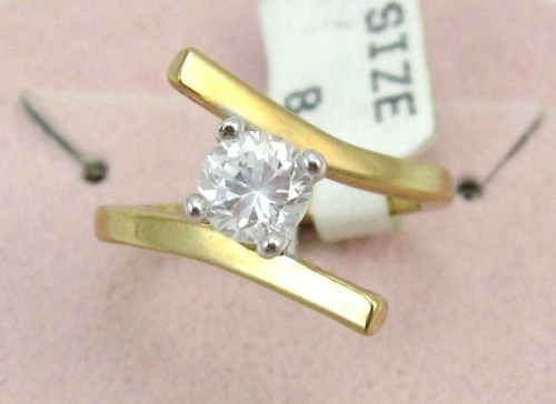 VINTAGE18k GF 6m brilliant CZ  ENGAGE/COCKTAIL sz 6-7-8