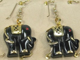 """HANDCRAFTgemstone black onyx GOLDPLATED SETTING ELEPHANT DANGLE EARRING 2"""" image 1"""