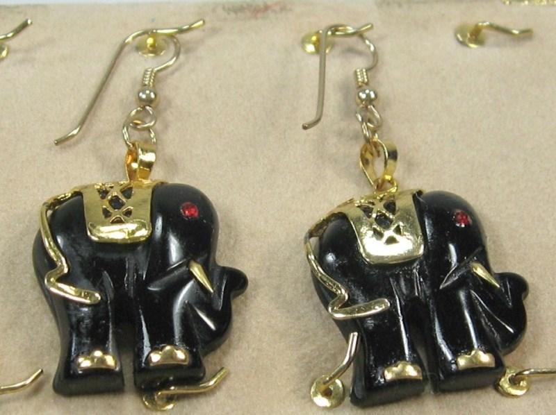 """HANDCRAFTgemstone black onyx GOLDPLATED SETTING ELEPHANT DANGLE EARRING 2"""" image 2"""